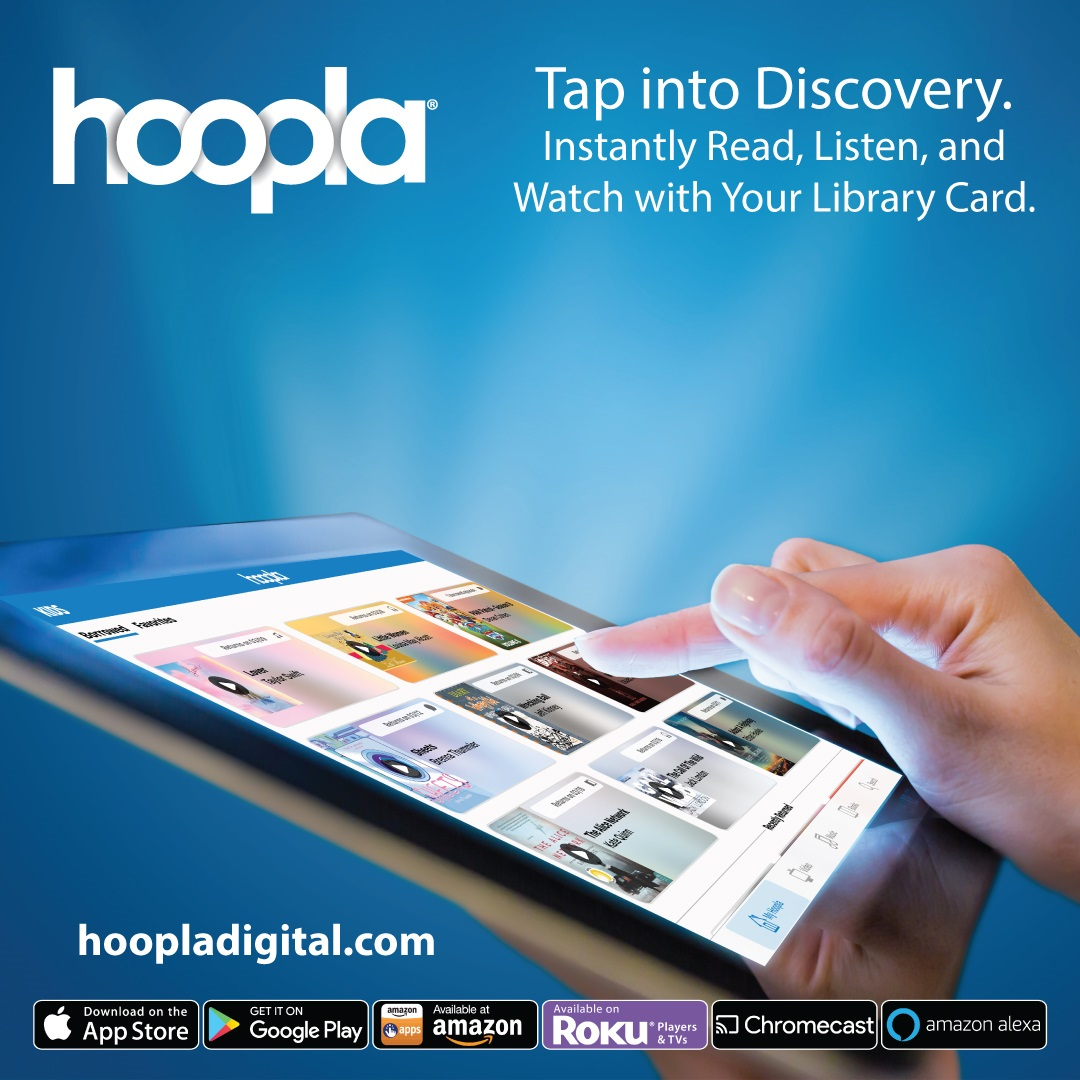 Hoopla!  Download ebooks, audiobooks, movies & more