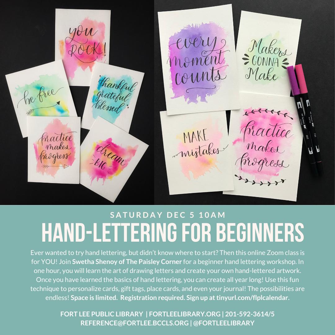 HAND-LETTERING FOR BEGINNERS – ZOOM WORKSHOP